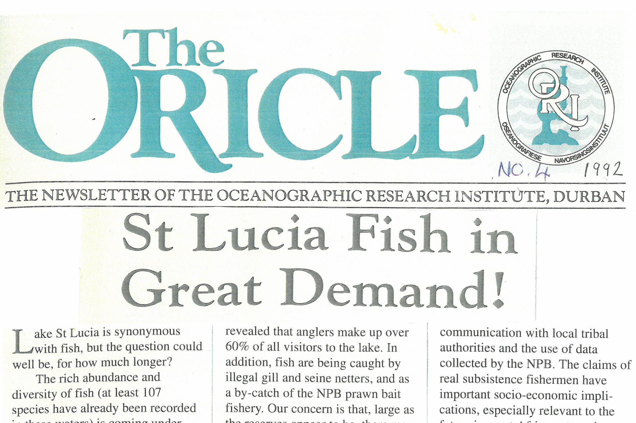 Chronicles of The Oricle - St Lucia Fish in Great Demand ORI SAAMBR
