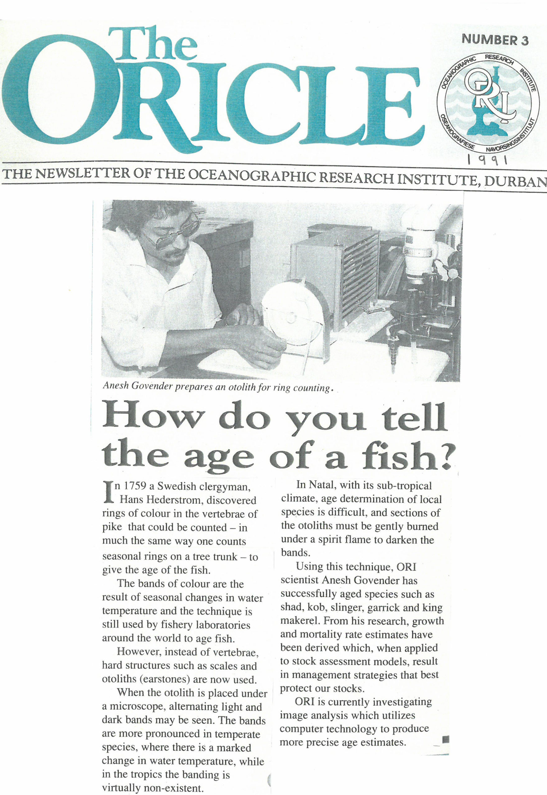 Chronicles of the Oricle aging fish ORI SAAMBR